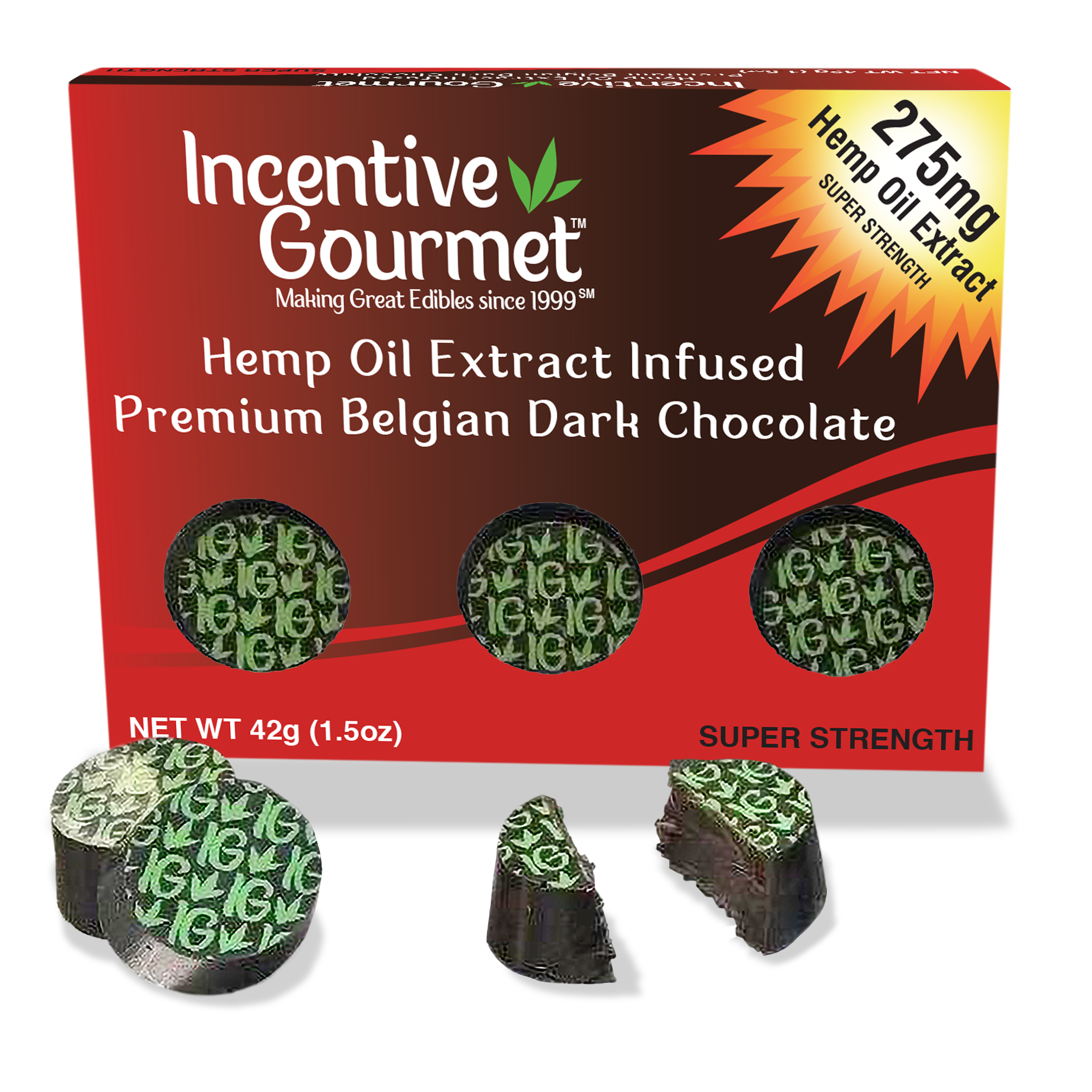 Hemp Oil Extract Infused Premium Belgian Dark Chocolate Box